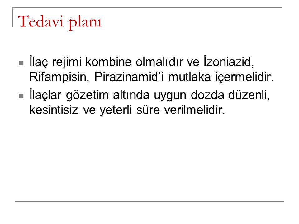 Tedavi planı İlaç rejimi kombine olmalıdır ve İzoniazid, Rifampisin, Pirazinamid'i mutlaka içermelidir. İlaçlar gözetim altında uygun dozda düzenli, k