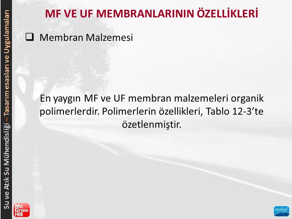 MF VE UF MEMBRANLARININ ÖZELLİKLERİ  Membran Malzemesi En yaygın MF ve UF membran malzemeleri organik polimerlerdir. Polimerlerin özellikleri, Tablo