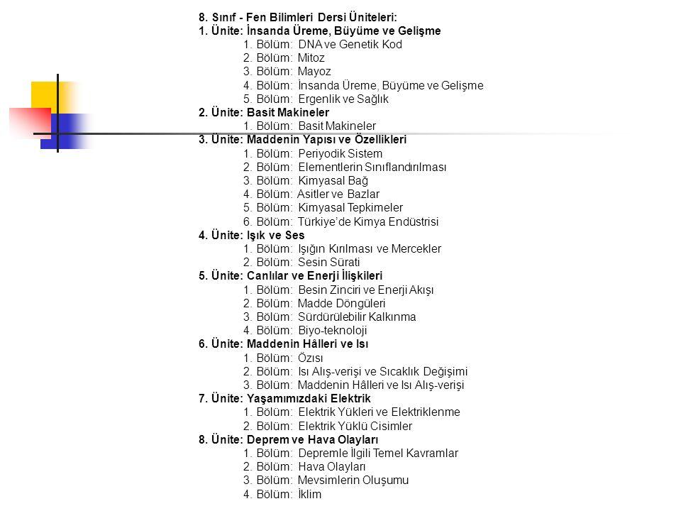 8. Sınıf - Fen Bilimleri Dersi Üniteleri: 1. Ünite: İnsanda Üreme, Büyüme ve Gelişme 1. Bölüm: DNA ve Genetik Kod 2. Bölüm: Mitoz 3. Bölüm: Mayoz 4. B