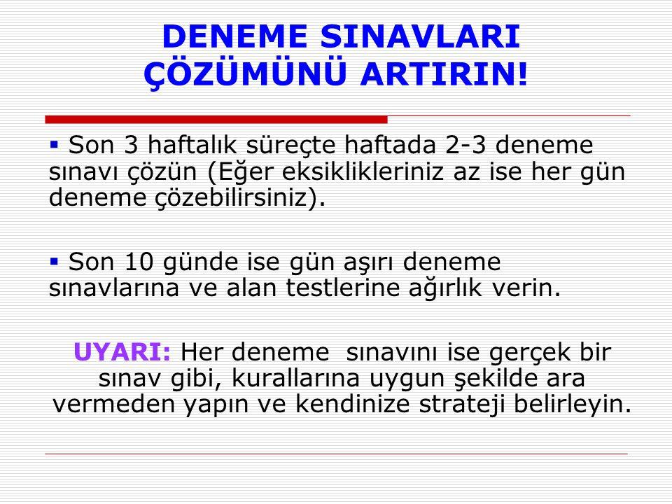 SINAV STRATEJİSİ BELİRLE.
