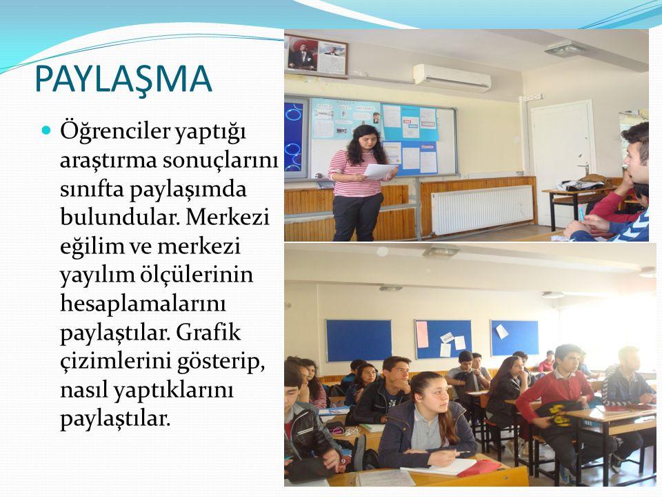 PAYLAŞMA Öğrenciler yaptığı araştırma sonuçlarını sınıfta paylaşımda bulundular. Merkezi eğilim ve merkezi yayılım ölçülerinin hesaplamalarını paylaşt
