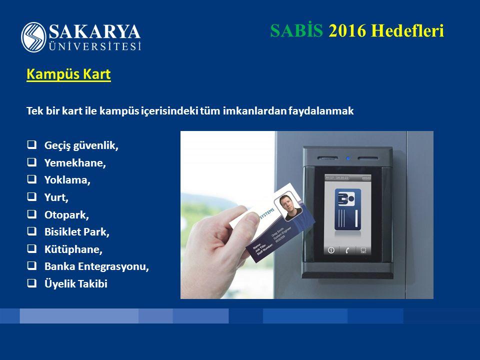 SABİS 2016 Hedefleri Kampüs Kart Tek bir kart ile kampüs içerisindeki tüm imkanlardan faydalanmak  Geçiş güvenlik,  Yemekhane,  Yoklama,  Yurt, 