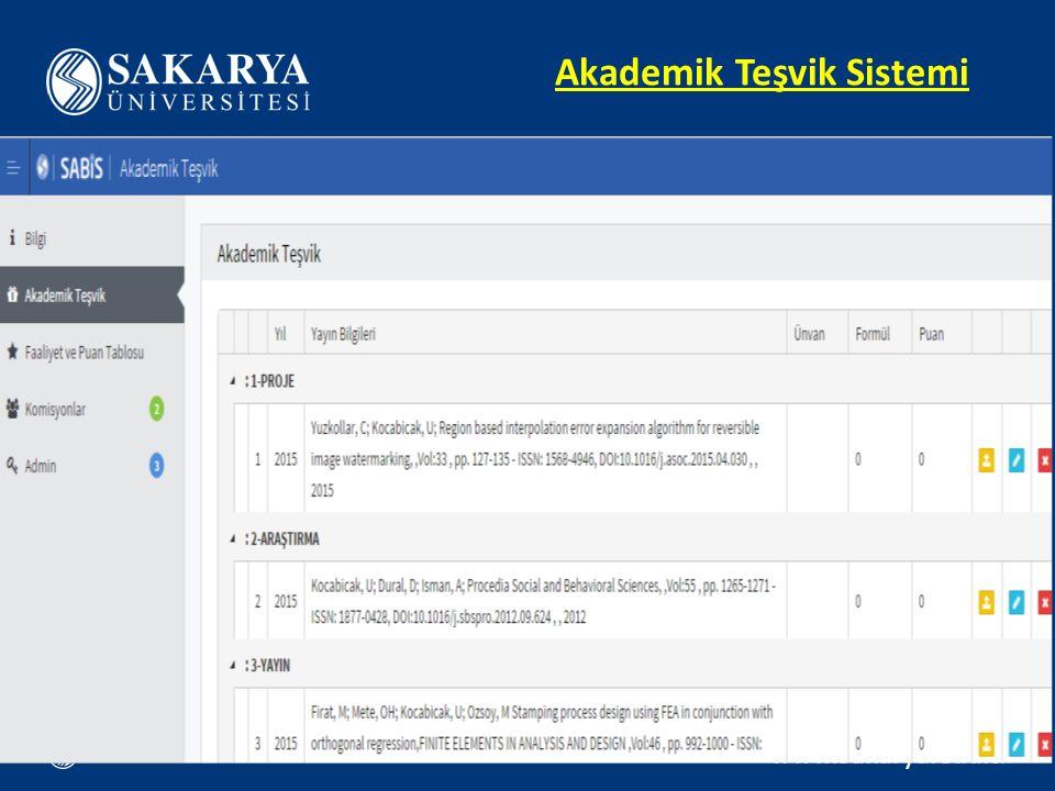 www.sakarya.edu.tr Akademik Teşvik Sistemi