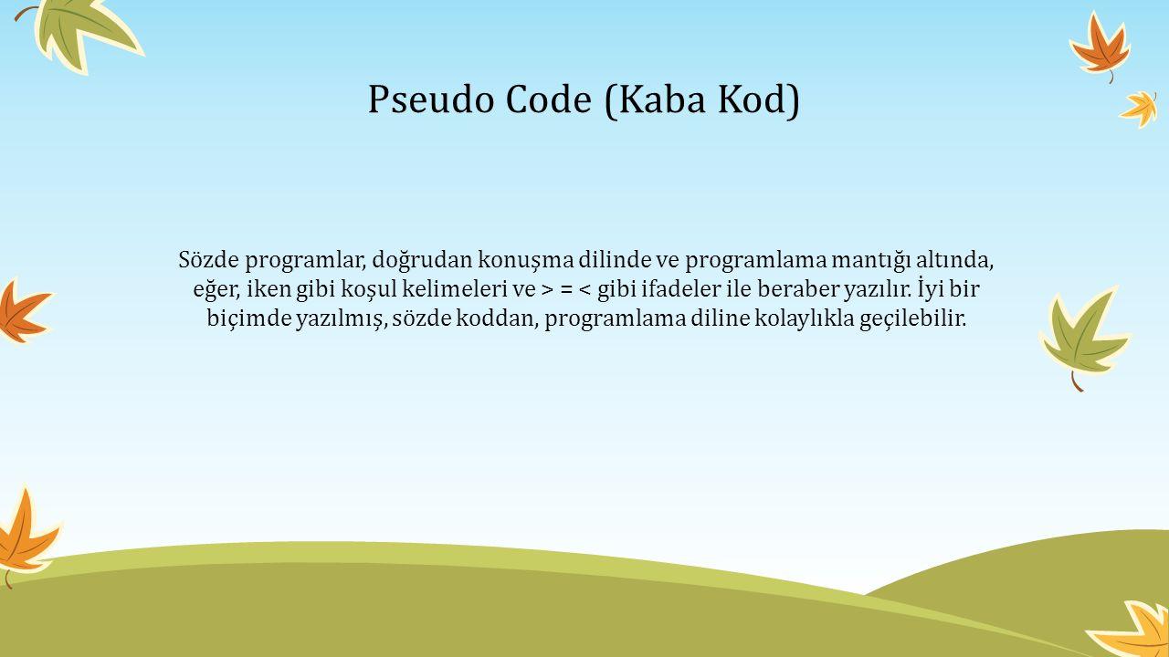 Pseudo Code (Kaba Kod) Sözde programlar, doğrudan konuşma dilinde ve programlama mantığı altında, eğer, iken gibi koşul kelimeleri ve > = < gibi ifade
