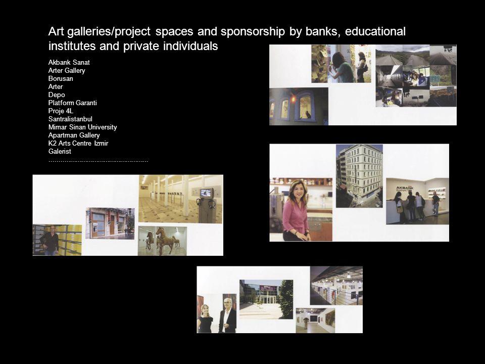 Akbank Sanat Arter Gallery Borusan Arter Depo Platform Garanti Proje 4L Santralistanbul Mimar Sinan University Apartman Gallery K2 Arts Centre Izmir Galerist.....................................................