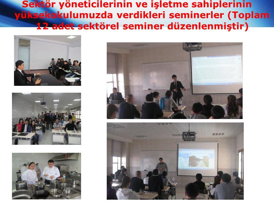 Sektör yöneticilerinin ve işletme sahiplerinin yüksekokulumuzda verdikleri seminerler (Toplam 12 adet sektörel seminer düzenlenmiştir)