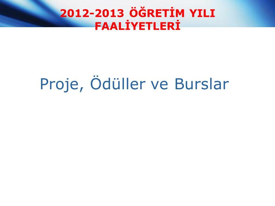 2012-2013 ÖĞRETİM YILI FAALİYETLERİ Proje, Ödüller ve Burslar