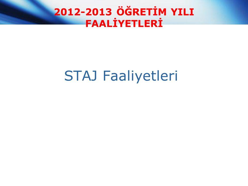2012-2013 ÖĞRETİM YILI FAALİYETLERİ STAJ Faaliyetleri