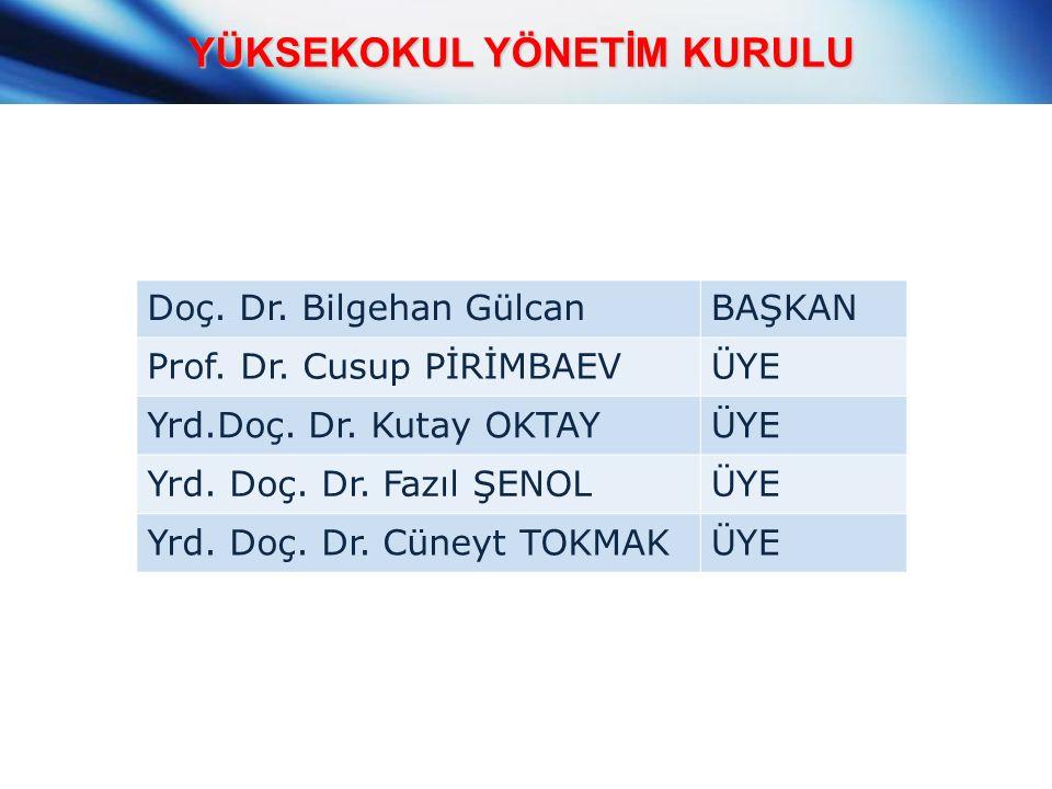 YÜKSEKOKUL YÖNETİM KURULU Doç. Dr. Bilgehan GülcanBAŞKAN Prof.