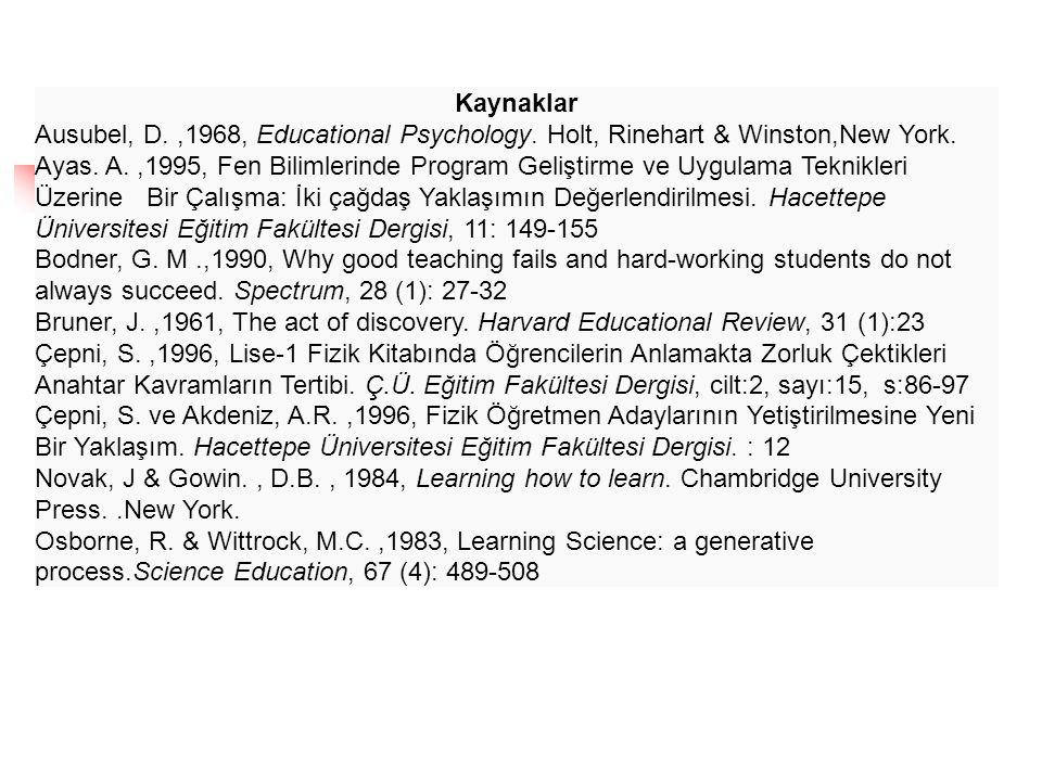 Kaynaklar Ausubel, D.,1968, Educational Psychology. Holt, Rinehart & Winston,New York. Ayas. A.,1995, Fen Bilimlerinde Program Geliştirme ve Uygulama