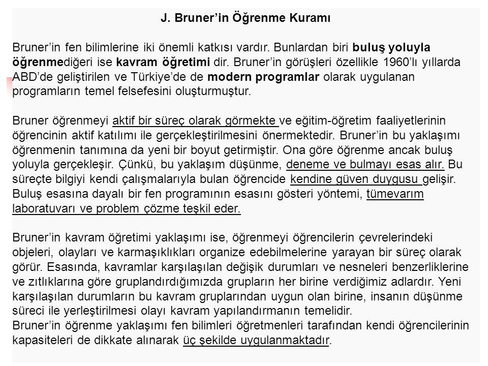 J. Bruner'in Öğrenme Kuramı Bruner'in fen bilimlerine iki önemli katkısı vardır. Bunlardan biri buluş yoluyla öğrenmediğeri ise kavram öğretimi dir. B