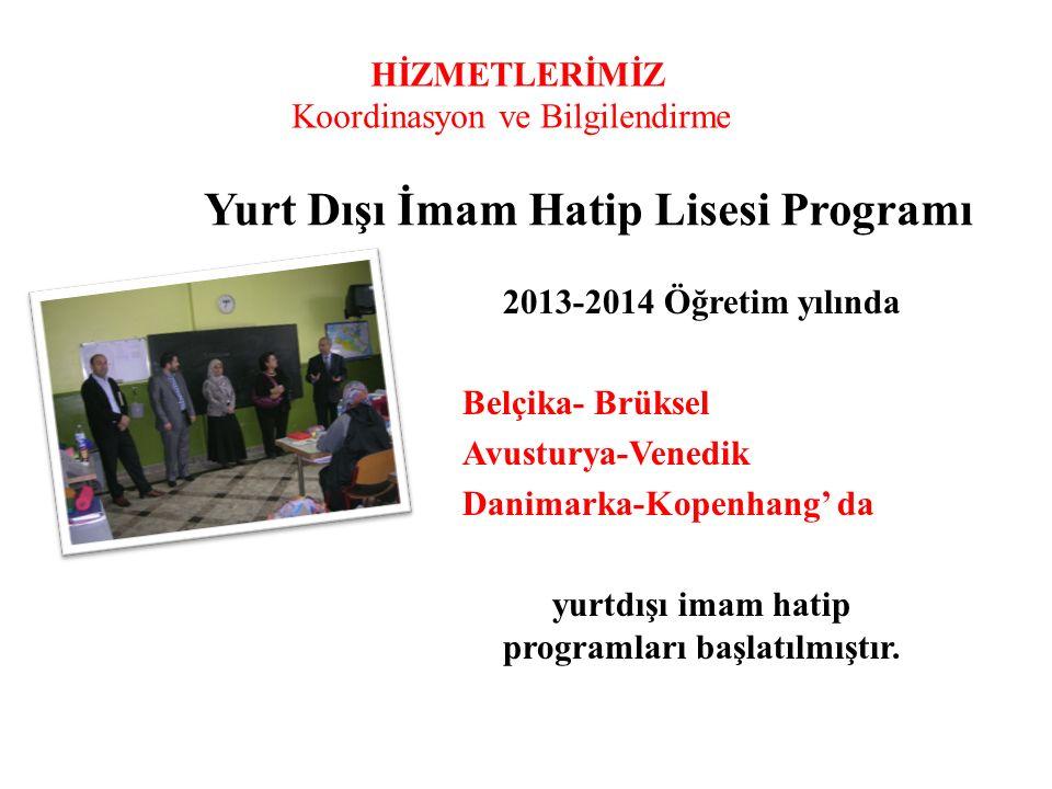 HİZMETLERİMİZ Koordinasyon ve Bilgilendirme Yurt Dışı İmam Hatip Lisesi Programı 2013-2014 Öğretim yılında Belçika- Brüksel Avusturya-Venedik Danimark