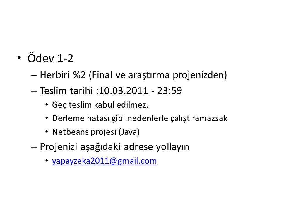 Ödev 1-2 – Herbiri %2 (Final ve araştırma projenizden) – Teslim tarihi :10.03.2011 - 23:59 Geç teslim kabul edilmez.