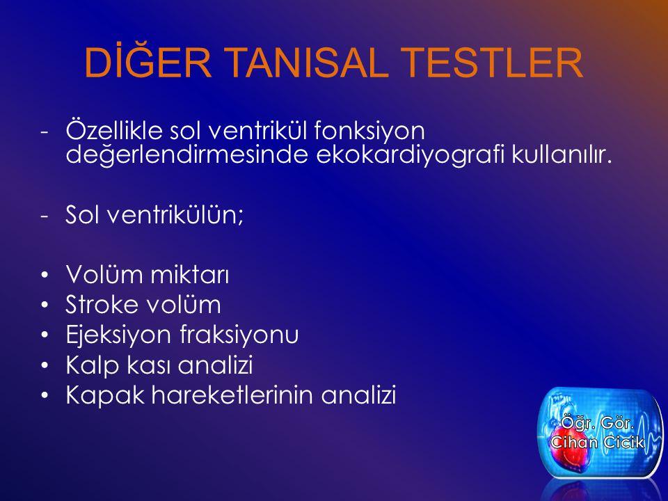 DİĞER TANISAL TESTLER -Özellikle sol ventrikül fonksiyon değerlendirmesinde ekokardiyografi kullanılır. -Sol ventrikülün; Volüm miktarı Stroke volüm E