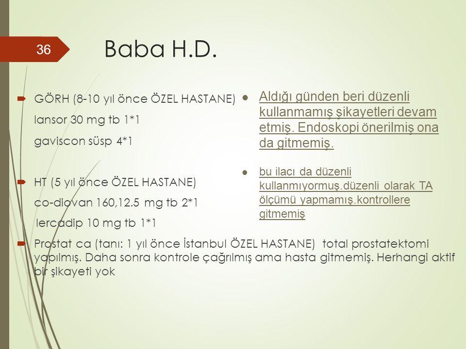 Baba H.D.  GÖRH (8-10 yıl önce ÖZEL HASTANE) lansor 30 mg tb 1*1 gaviscon süsp 4*1  HT (5 yıl önce ÖZEL HASTANE) co-diovan 160,12.5 mg tb 2*1 lercad
