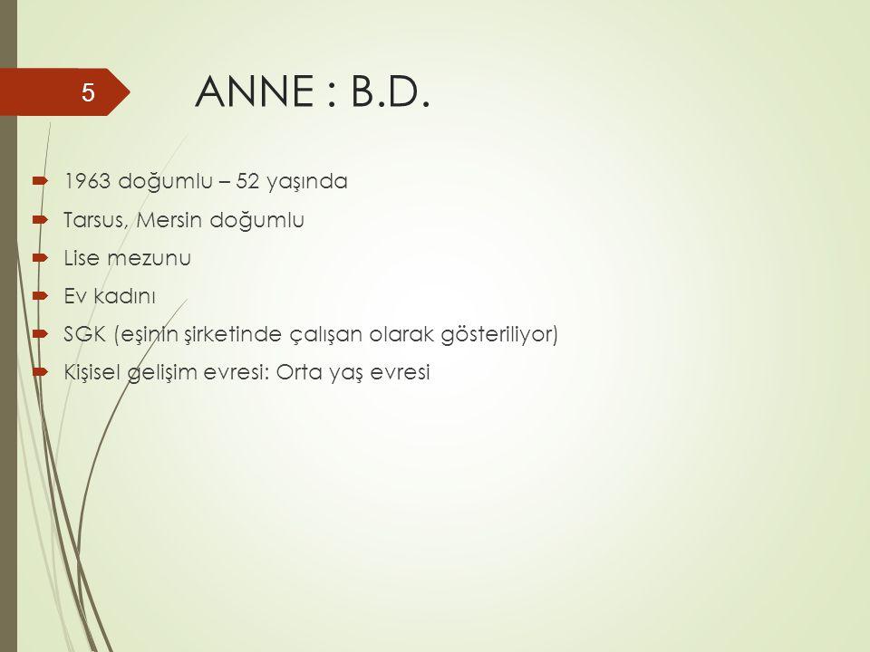 ANNE : B.D.  1963 doğumlu – 52 yaşında  Tarsus, Mersin doğumlu  Lise mezunu  Ev kadını  SGK (eşinin şirketinde çalışan olarak gösteriliyor)  Kiş