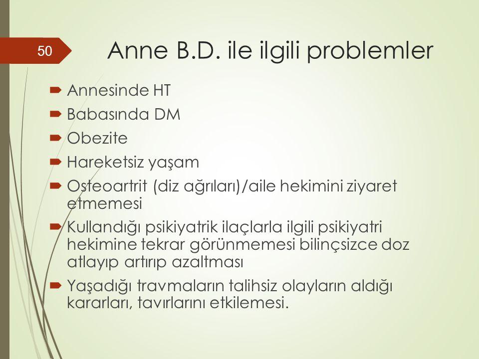 Anne B.D. ile ilgili problemler  Annesinde HT  Babasında DM  Obezite  Hareketsiz yaşam  Osteoartrit (diz ağrıları)/aile hekimini ziyaret etmemesi