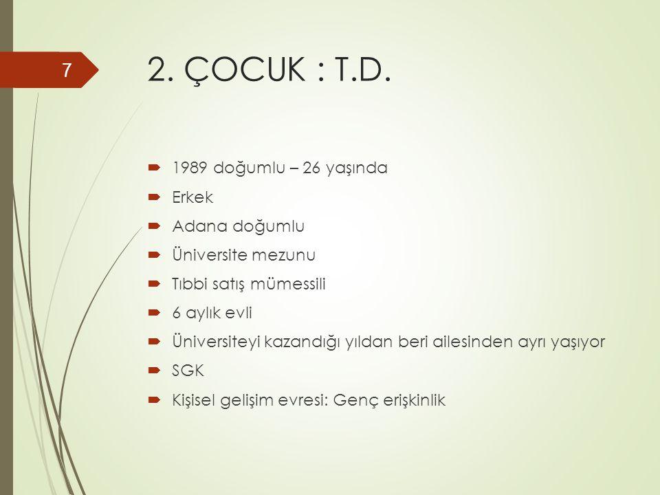 2. ÇOCUK : T.D.  1989 doğumlu – 26 yaşında  Erkek  Adana doğumlu  Üniversite mezunu  Tıbbi satış mümessili  6 aylık evli  Üniversiteyi kazandığ