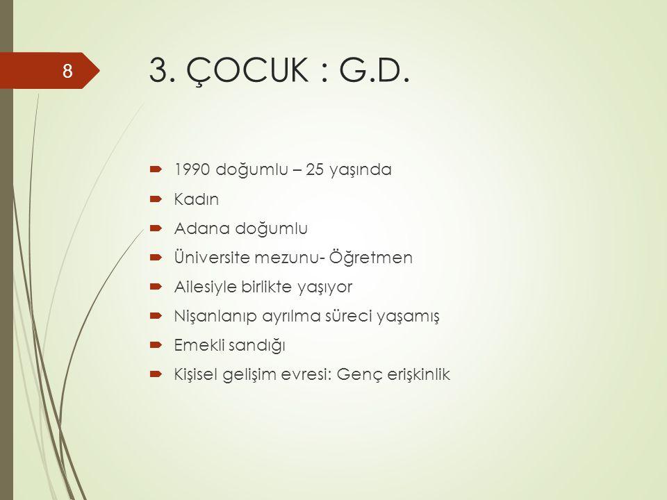 3. ÇOCUK : G.D.  1990 doğumlu – 25 yaşında  Kadın  Adana doğumlu  Üniversite mezunu- Öğretmen  Ailesiyle birlikte yaşıyor  Nişanlanıp ayrılma sü