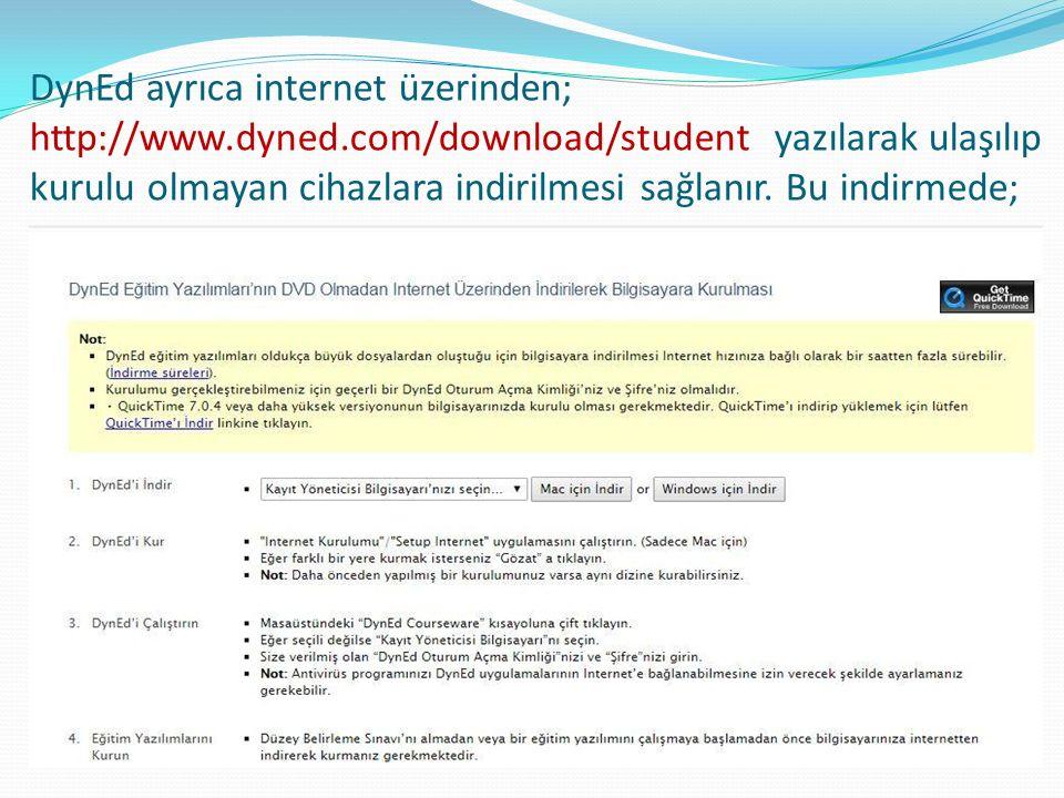 DynEd ayrıca internet üzerinden; http://www.dyned.com/download/student yazılarak ulaşılıp kurulu olmayan cihazlara indirilmesi sağlanır.