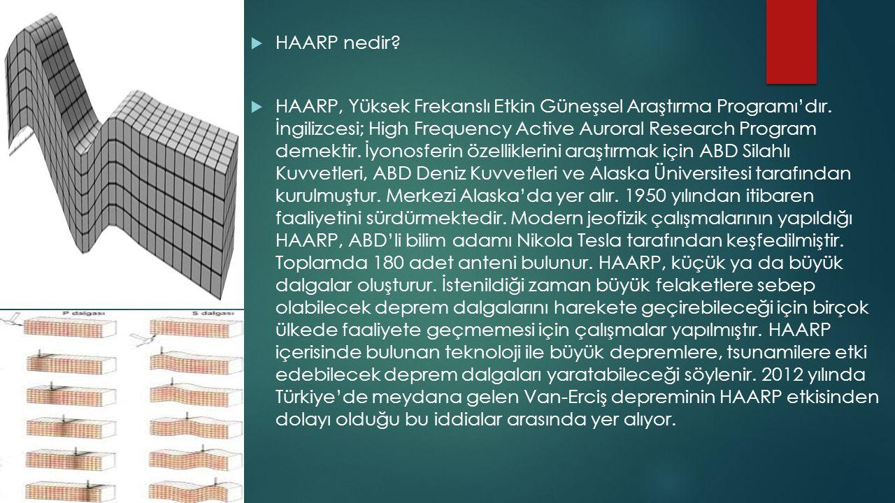  HAARP nedir?  HAARP, Yüksek Frekanslı Etkin Güneşsel Araştırma Programı'dır. İngilizcesi; High Frequency Active Auroral Research Program demektir.