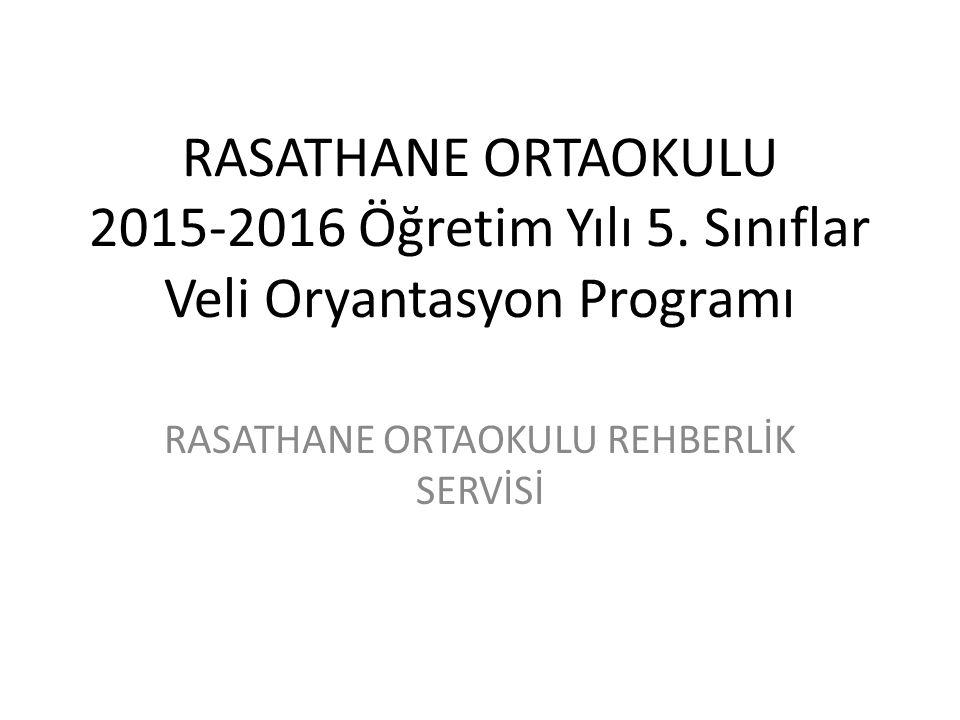 RASATHANE ORTAOKULU 2015-2016 Öğretim Yılı 5. Sınıflar Veli Oryantasyon Programı RASATHANE ORTAOKULU REHBERLİK SERVİSİ