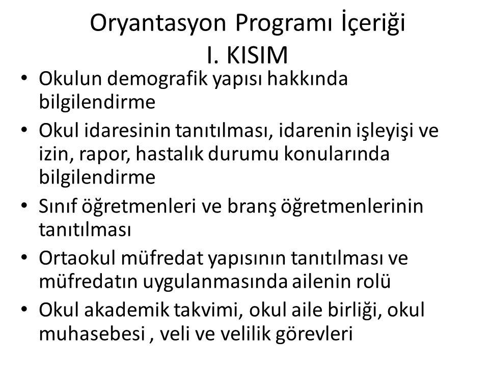 Oryantasyon Programı İçeriği I. KISIM Okulun demografik yapısı hakkında bilgilendirme Okul idaresinin tanıtılması, idarenin işleyişi ve izin, rapor, h