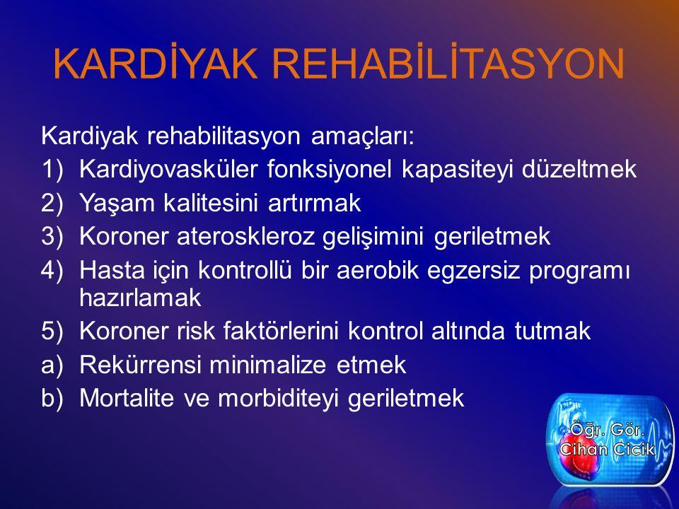 KARDİYAK REHABİLİTASYON Kardiyak rehabilitasyon amaçları: 1)Kardiyovasküler fonksiyonel kapasiteyi düzeltmek 2)Yaşam kalitesini artırmak 3)Koroner ateroskleroz gelişimini geriletmek 4)Hasta için kontrollü bir aerobik egzersiz programı hazırlamak 5)Koroner risk faktörlerini kontrol altında tutmak a)Rekürrensi minimalize etmek b)Mortalite ve morbiditeyi geriletmek