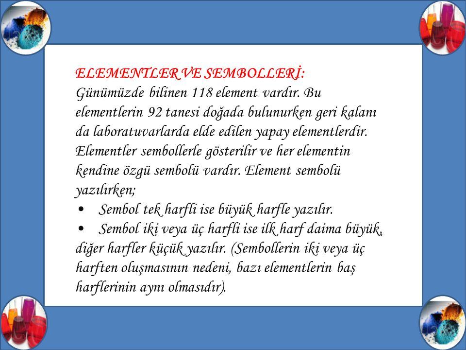ELEMENTLER VE SEMBOLLERİ: Günümüzde bilinen 118 element vardır.
