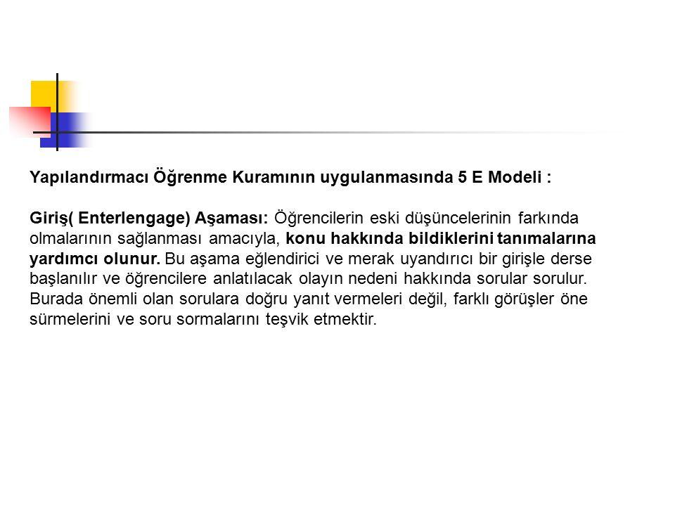 Yapılandırmacı Öğrenme Kuramının uygulanmasında 5 E Modeli : Giriş( Enterlengage) Aşaması: Öğrencilerin eski düşüncelerinin farkında olmalarının sağla