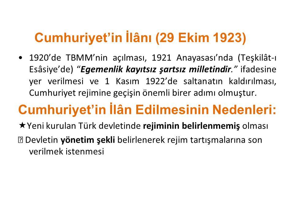 """Cumhuriyet'in İlânı (29 Ekim 1923) 1920'de TBMM'nin açılması, 1921 Anayasası'nda (Teşkilât-ı Esâsiye'de) """"Egemenlik kayıtsız şartsız milletindir."""" ifa"""