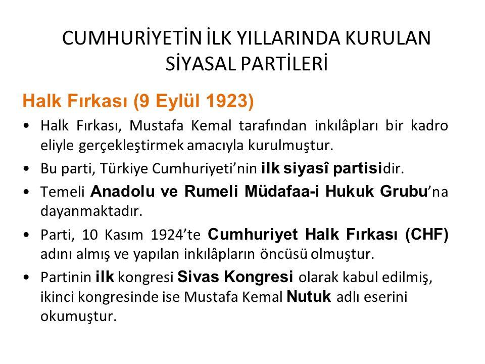 CUMHURİYETİN İLK YILLARINDA KURULAN SİYASAL PARTİLERİ Halk Fırkası (9 Eylül 1923) Halk Fırkası, Mustafa Kemal tarafından inkılâpları bir kadro eliyle