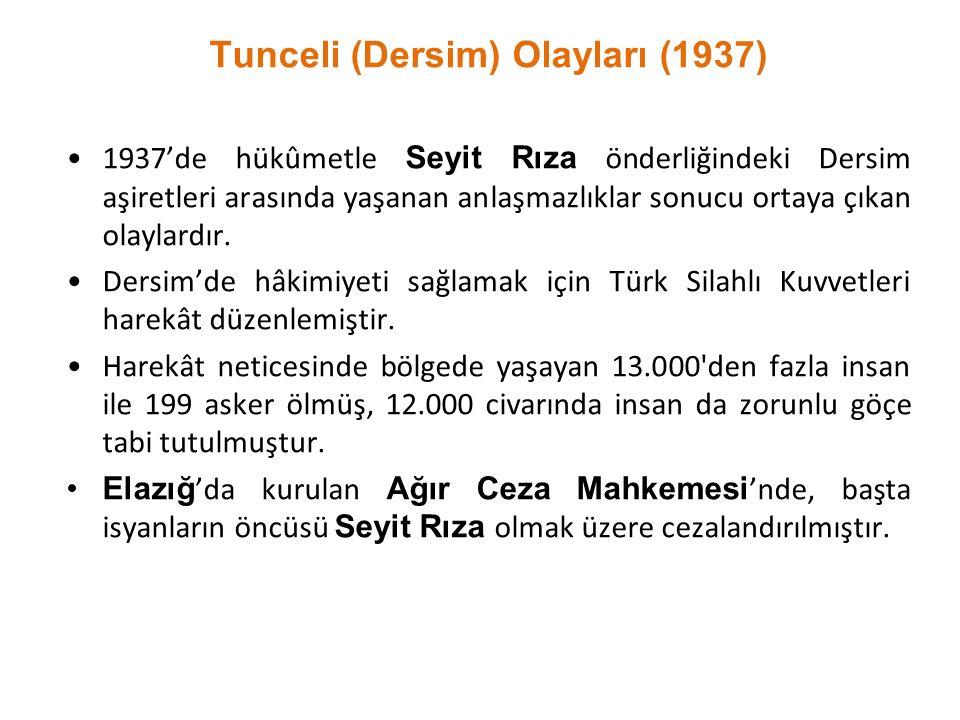 Tunceli (Dersim) Olayları (1937) 1937'de hükûmetle Seyit Rıza önderliğindeki Dersim aşiretleri arasında yaşanan anlaşmazlıklar sonucu ortaya çıkan ola