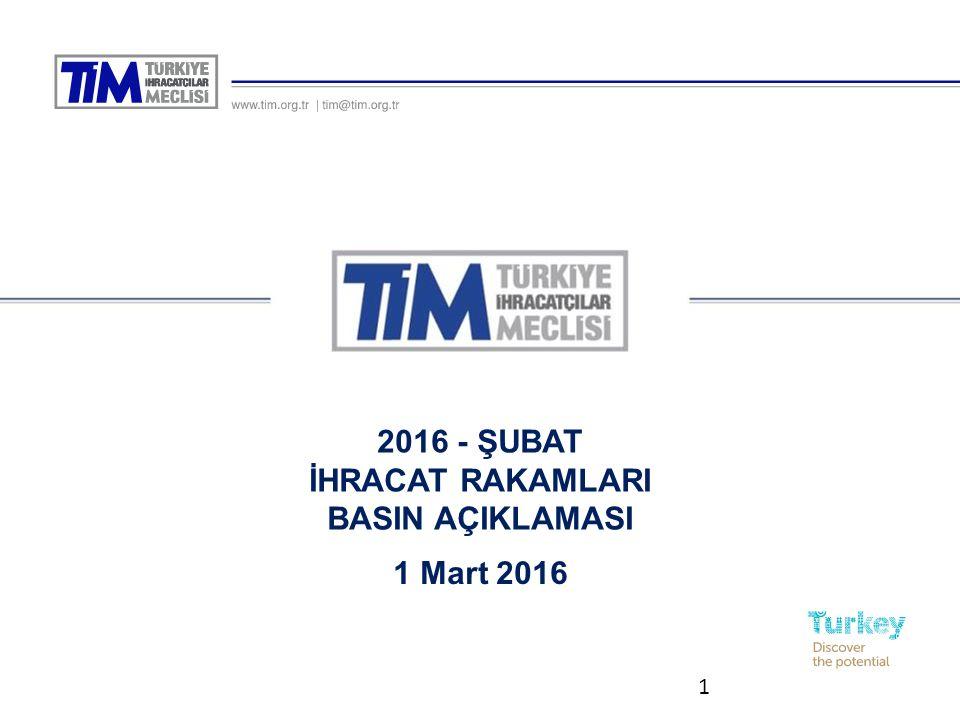 2016 - ŞUBAT İHRACAT RAKAMLARI BASIN AÇIKLAMASI 1 1 Mart 2016