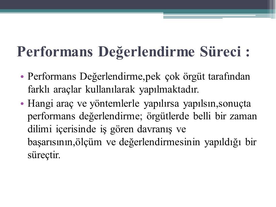 Performans Değerlendirme Süreci : Performans Değerlendirme,pek çok örgüt tarafından farklı araçlar kullanılarak yapılmaktadır.