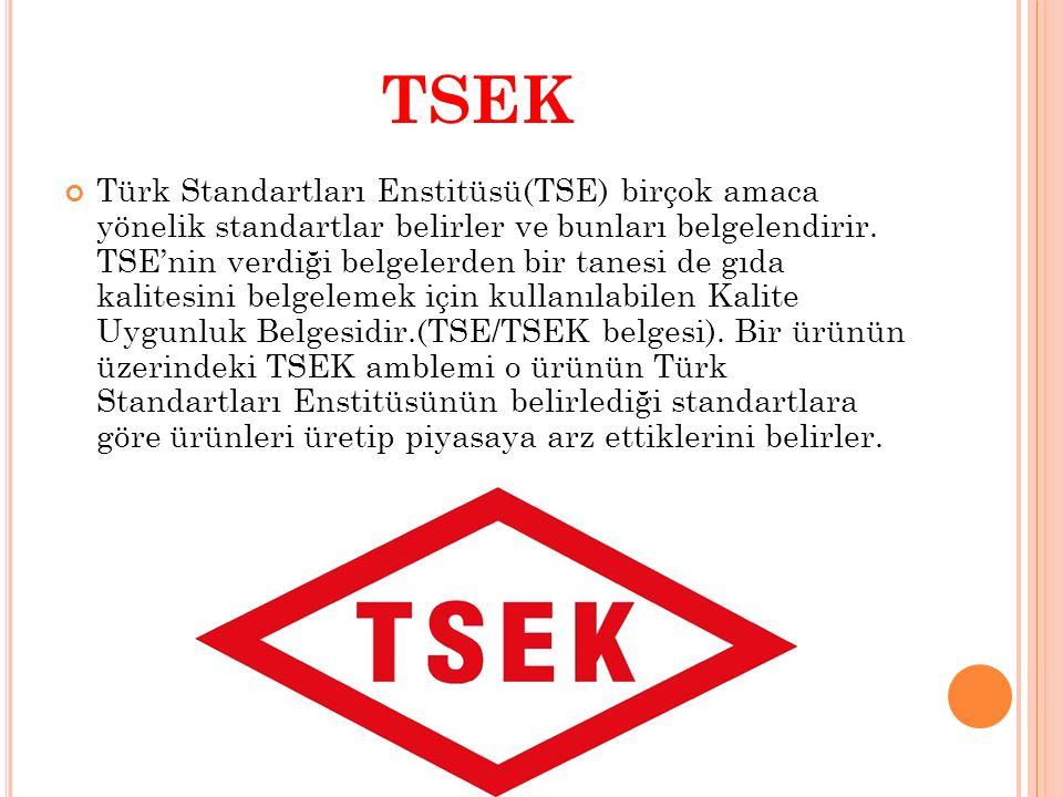 TSEK Türk Standartları Enstitüsü(TSE) birçok amaca yönelik standartlar belirler ve bunları belgelendirir. TSE'nin verdiği belgelerden bir tanesi de gı