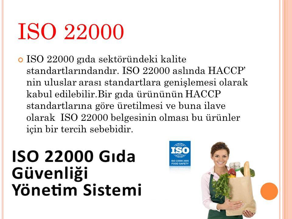 ISO 22000 ISO 22000 gıda sektöründeki kalite standartlarındandır. ISO 22000 aslında HACCP' nin uluslar arası standartlara genişlemesi olarak kabul edi