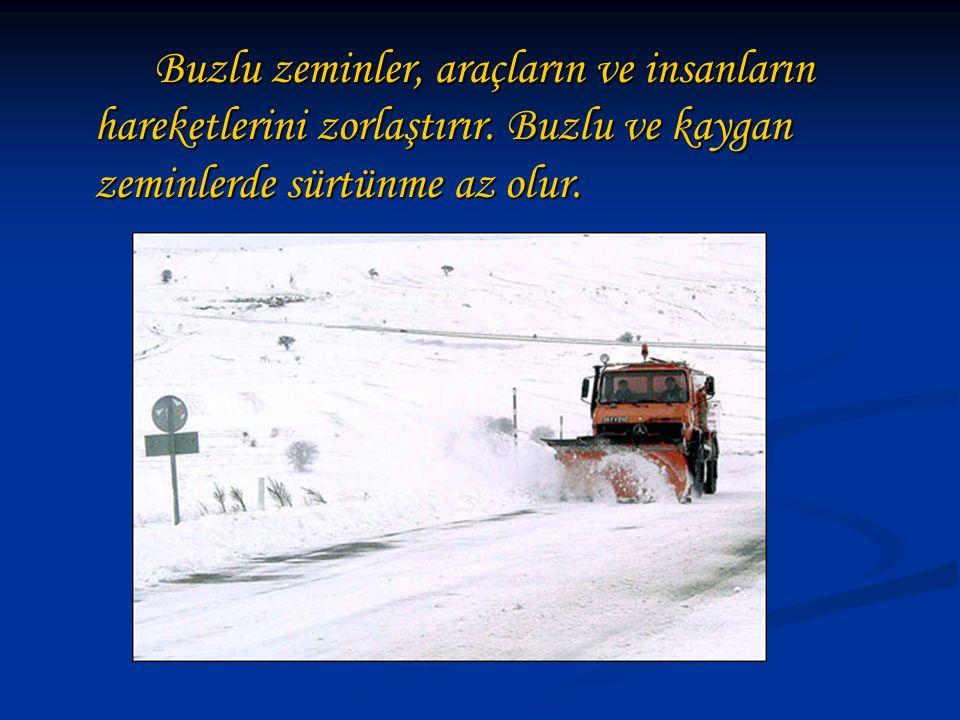 Buzlu zeminler, araçların ve insanların hareketlerini zorlaştırır. Buzlu ve kaygan zeminlerde sürtünme az olur.