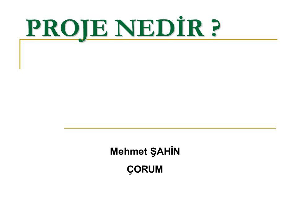 PROJE NEDİR ? Mehmet ŞAHİN ÇORUM