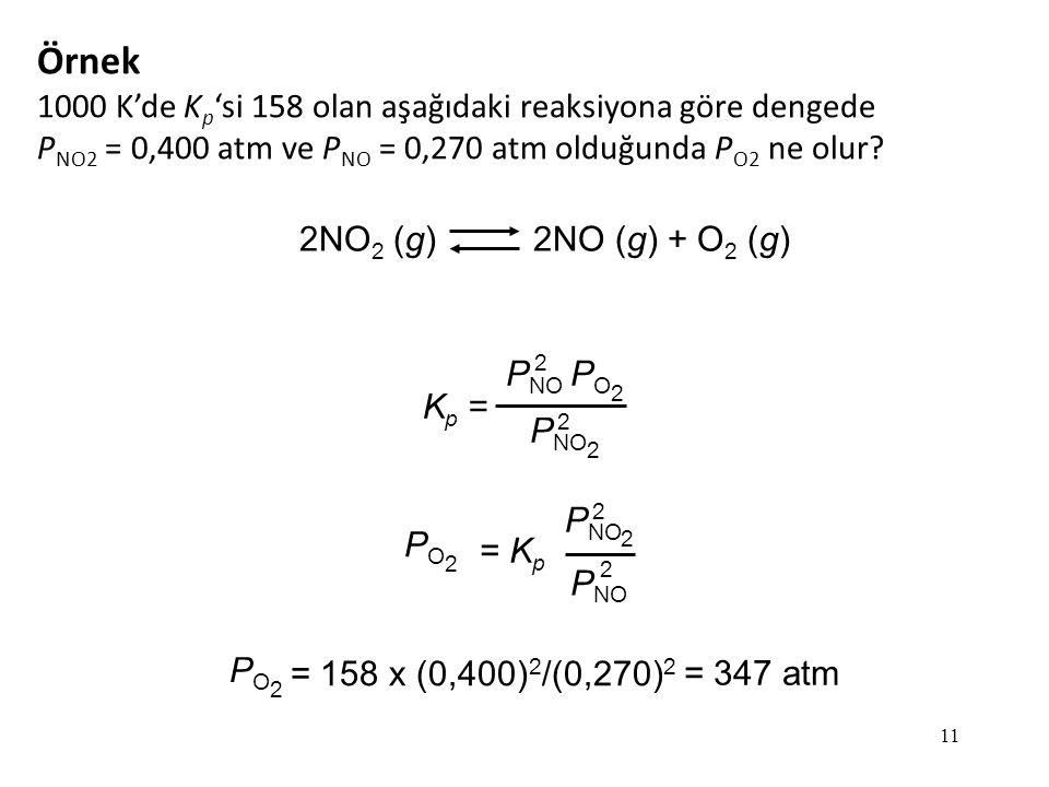 11 Örnek 1000 K'de K p 'si 158 olan aşağıdaki reaksiyona göre dengede P NO2 = 0,400 atm ve P NO = 0,270 atm olduğunda P O2 ne olur.