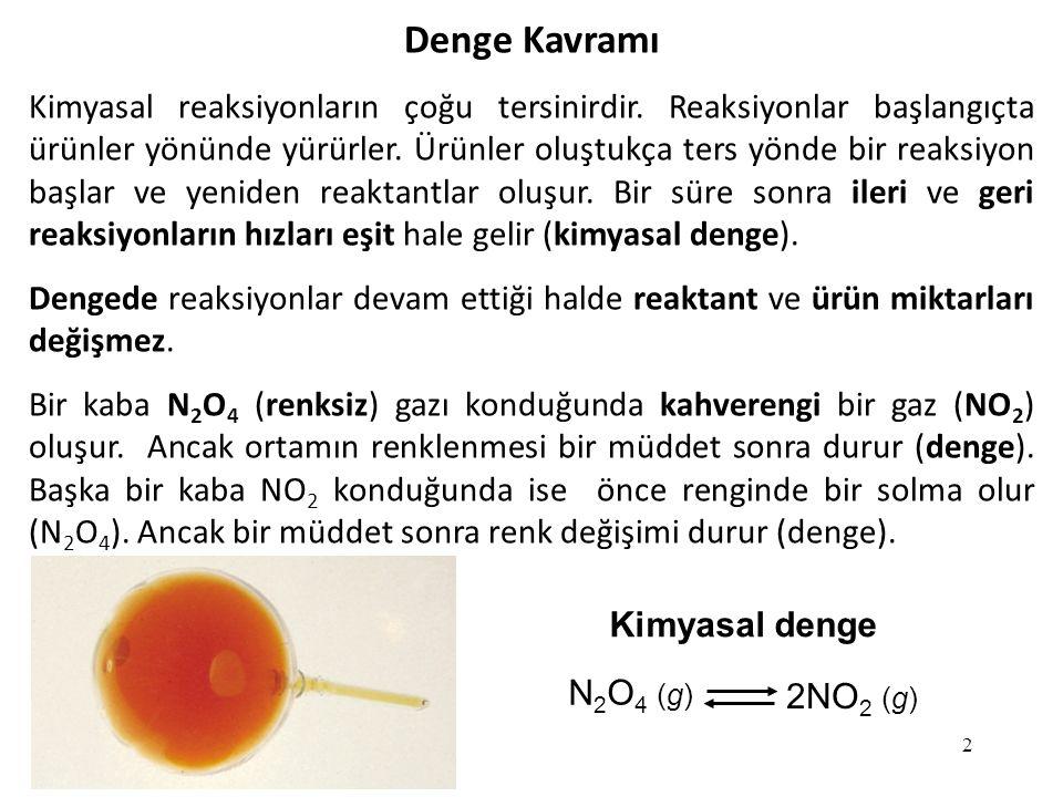 2 Denge Kavramı Kimyasal reaksiyonların çoğu tersinirdir.