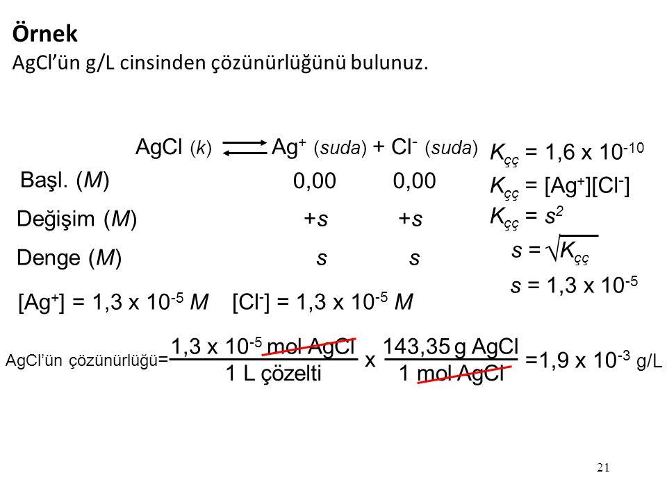 21 Örnek AgCl'ün g/L cinsinden çözünürlüğünü bulunuz.