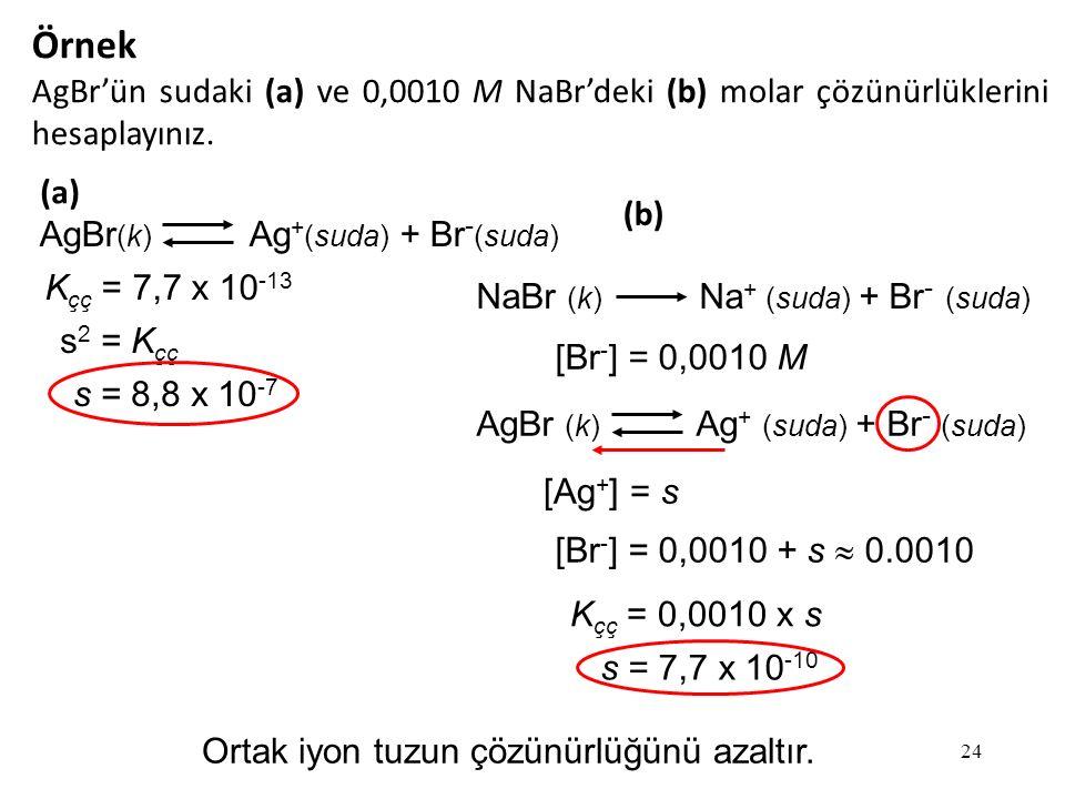 24 Örnek AgBr'ün sudaki (a) ve 0,0010 M NaBr'deki (b) molar çözünürlüklerini hesaplayınız.