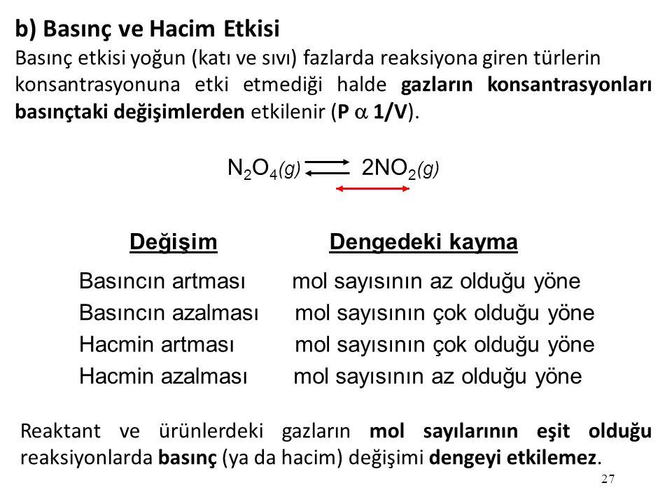 27 b) Basınç ve Hacim Etkisi Basınç etkisi yoğun (katı ve sıvı) fazlarda reaksiyona giren türlerin konsantrasyonuna etki etmediği halde gazların konsantrasyonları basınçtaki değişimlerden etkilenir (P  1/V).
