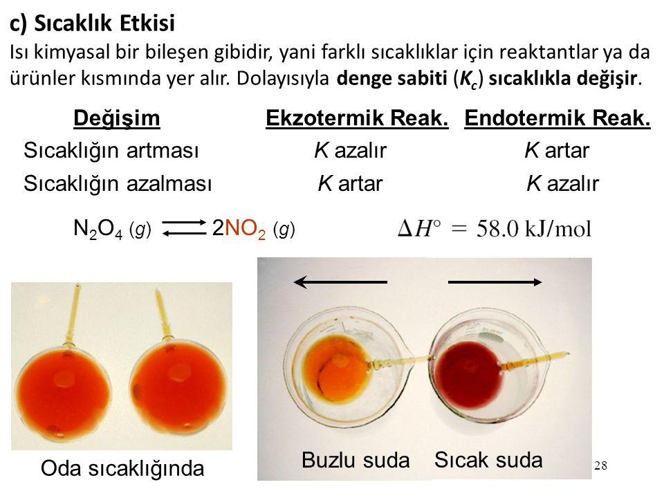 28 c) Sıcaklık Etkisi Isı kimyasal bir bileşen gibidir, yani farklı sıcaklıklar için reaktantlar ya da ürünler kısmında yer alır.