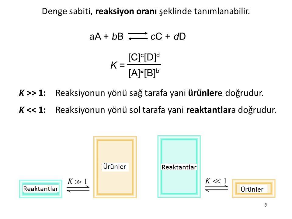 5 aA + bB cC + dD K = [C] c [D] d [A] a [B] b K >> 1: K << 1: Reaksiyonun yönü sağ tarafa yani ürünlere doğrudur.