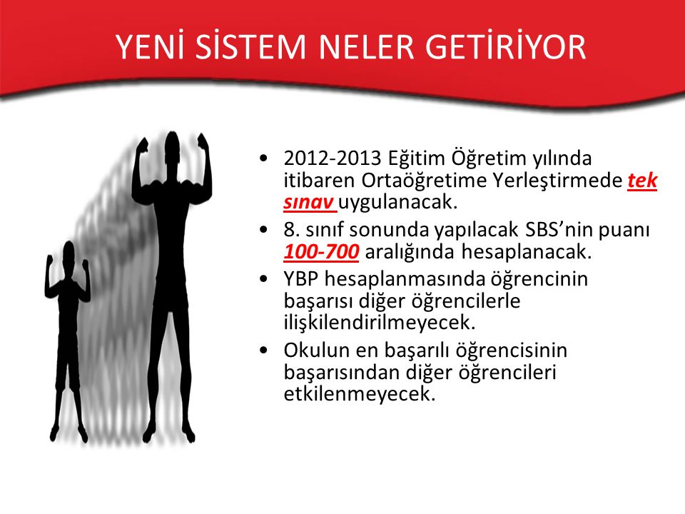 2012-2013 Eğitim Öğretim yılında itibaren Ortaöğretime Yerleştirmede tek sınav uygulanacak.
