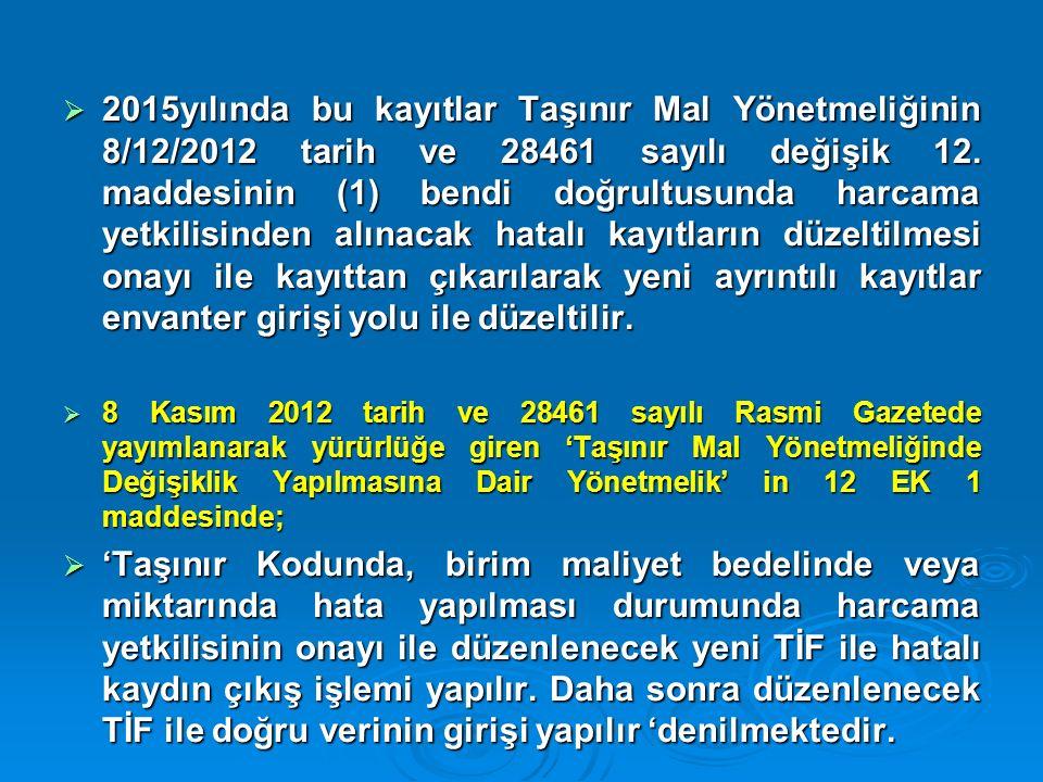  2015yılında bu kayıtlar Taşınır Mal Yönetmeliğinin 8/12/2012 tarih ve 28461 sayılı değişik 12. maddesinin (1) bendi doğrultusunda harcama yetkilisin