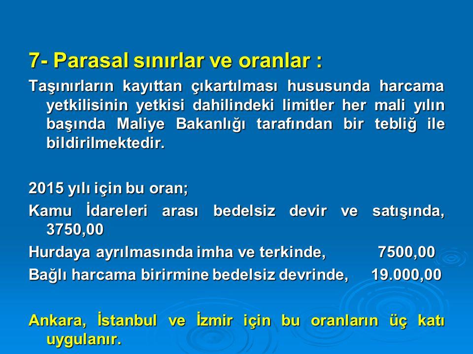 7- Parasal sınırlar ve oranlar : Taşınırların kayıttan çıkartılması hususunda harcama yetkilisinin yetkisi dahilindeki limitler her mali yılın başında