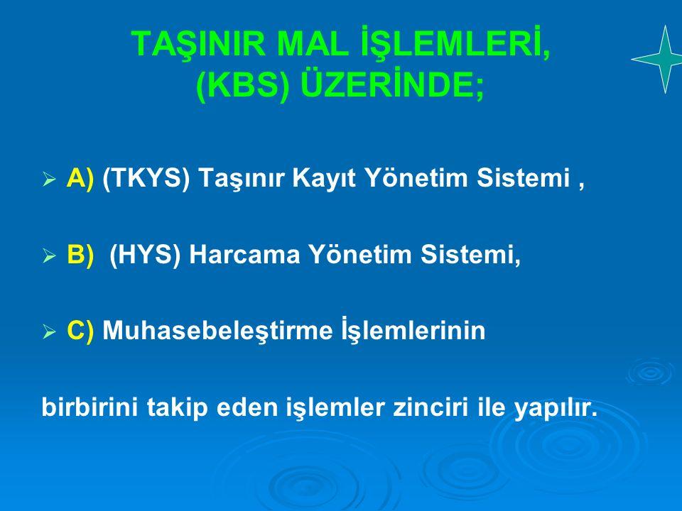 TAŞINIR MAL İŞLEMLERİ, (KBS) ÜZERİNDE;   A) (TKYS) Taşınır Kayıt Yönetim Sistemi,   B) (HYS) Harcama Yönetim Sistemi,   C) Muhasebeleştirme İşle